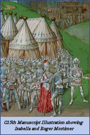 Manuscript Illustration showing Isabella and Roger Mortimer