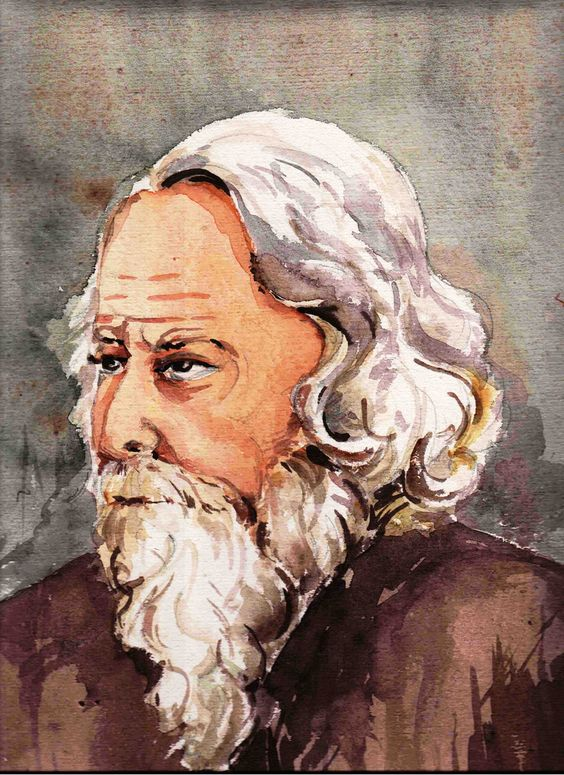 Portrait Of Rabindranath Tagore,Made On Handmade With Watercolor