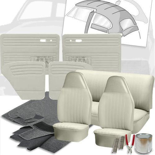 Deluxe Square Weave Vinyl Vw Interior Kit Beetle Sedan 1973 Interior Panel Doors Seat Pads