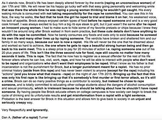 Best  Brock Turner Father Letter Ideas On   Brock