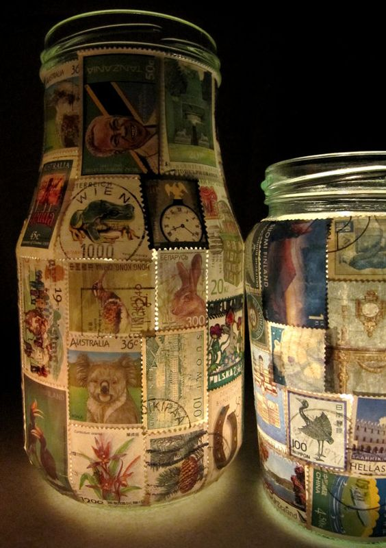Stamp Lamp - upcycled glass jar tealight candle holder
