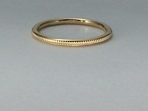 14kt Gold Milgrain wedding band, 14kt gold, handcrafted, yellow or rose