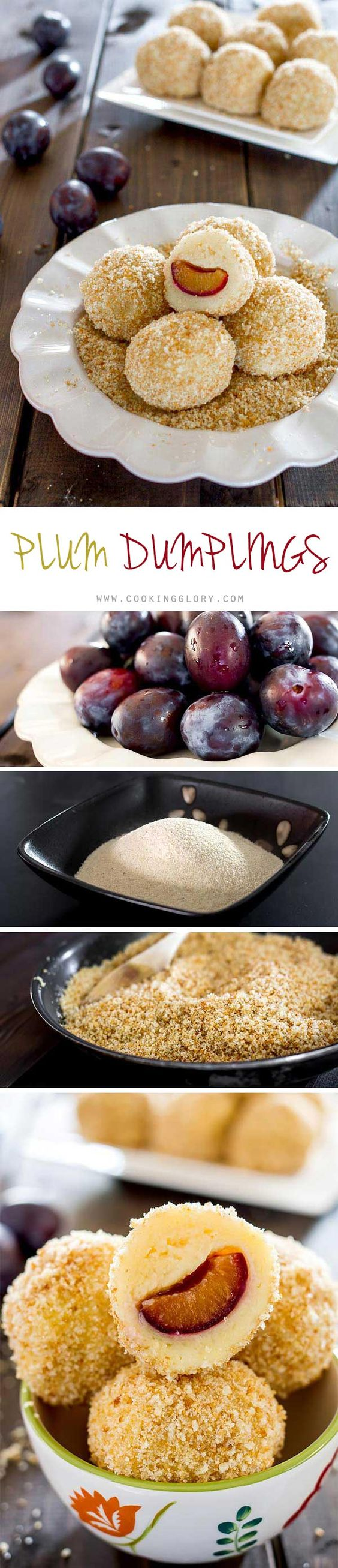 These plum dumplings are a traditional Romanian dessert made of fresh plums rolled into a soft potato dough, covered with a breadcrumb-sugar mixture.