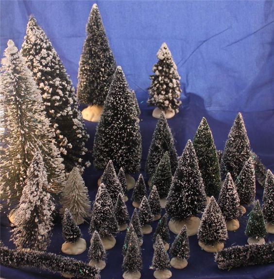 Lot of 37 Snow Village Christmas Trees and Hedges Lemax Topiary