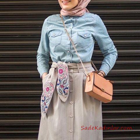 2020 Tesettur Etek Gomlek Kombinleri Vizon Uzun Dugmeli Etek Mavi Kot Gomlek Klasik Moda Islami Moda Kot Gomlek