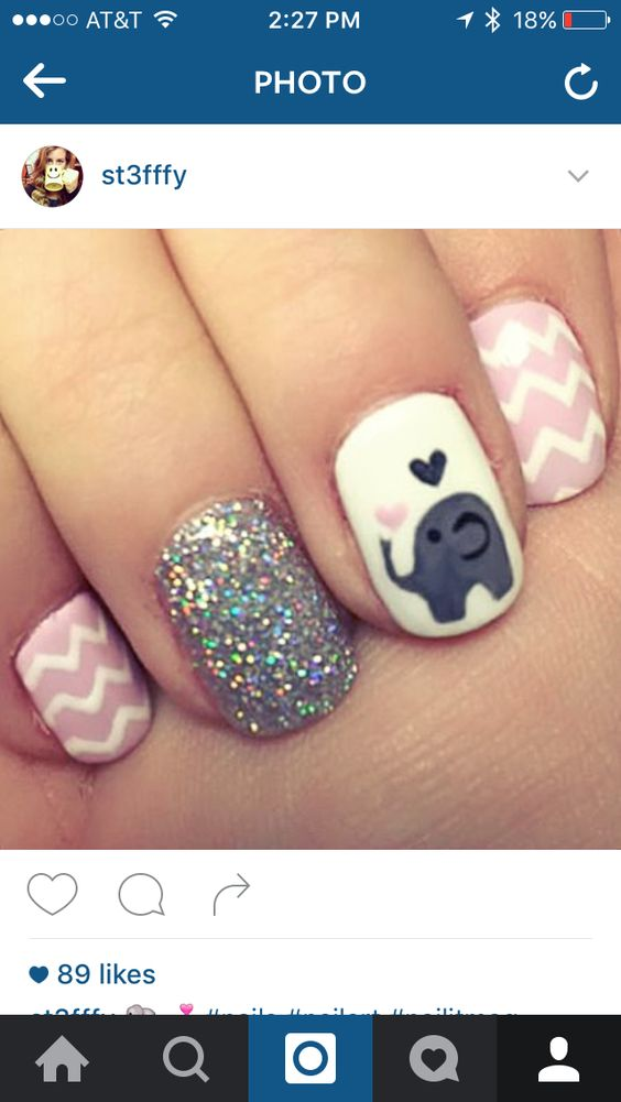 Baby elephant chevron shellac nails