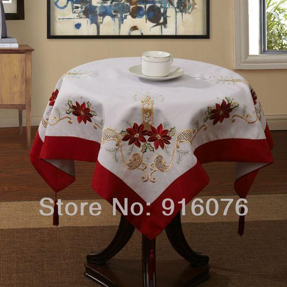 Mantel navide o para mesa redonda buscar con google - Manteles de mesa bordados ...