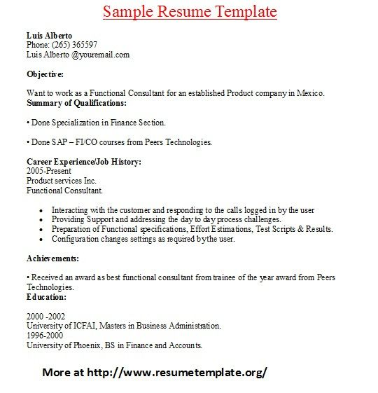 For more and various sample resume templates visit www - sap functional consultant sample resume