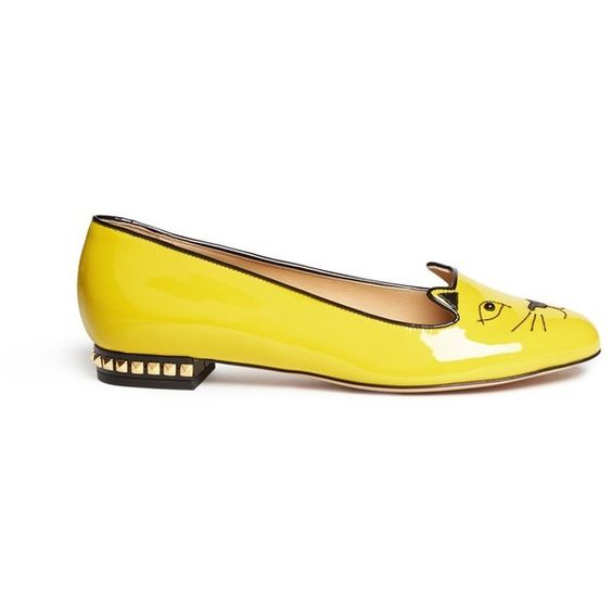 Charlotte Olympia 'Kitty Studs' patent leather flats ($870) via Polyvore