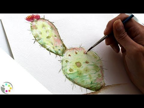 How To Paint A Cactus Watercolor Painting Tutorial Youtube
