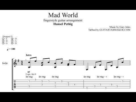 Gary Jules Mad World Fingerstyle Guitar Tabs Pdf Guitar Sheet