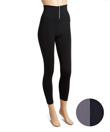 Look at this #zulilyfind! Black & Gray Zipper Fleece-Lined Legging Set - Women #zulilyfinds