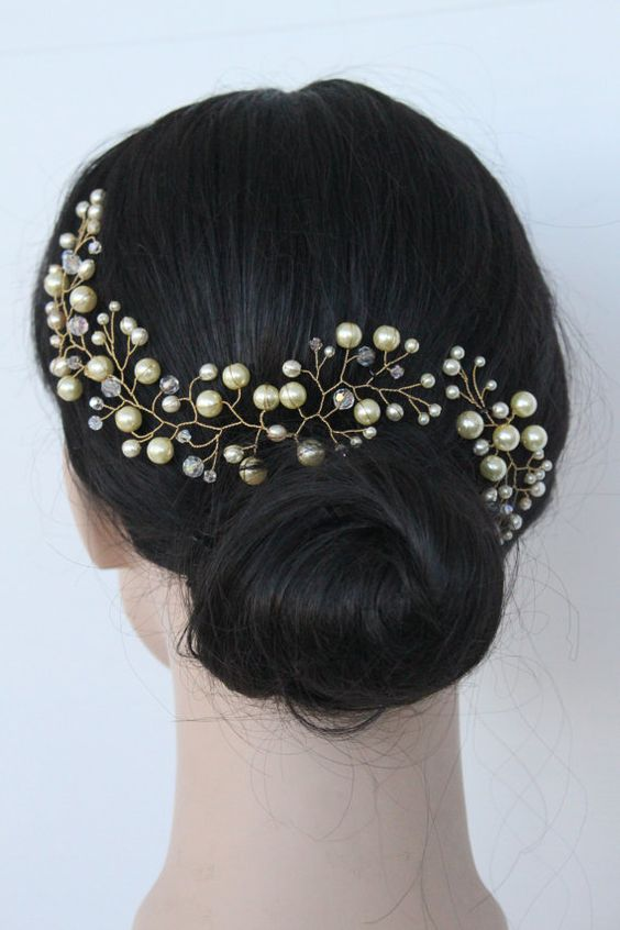 Ivory Pearl Hair Vine with Swarovski Crystals Crown: