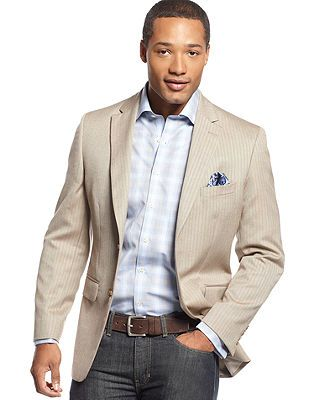 Club Room Sport Coat Khaki Herringbone Jacket - Blazers &amp Sport