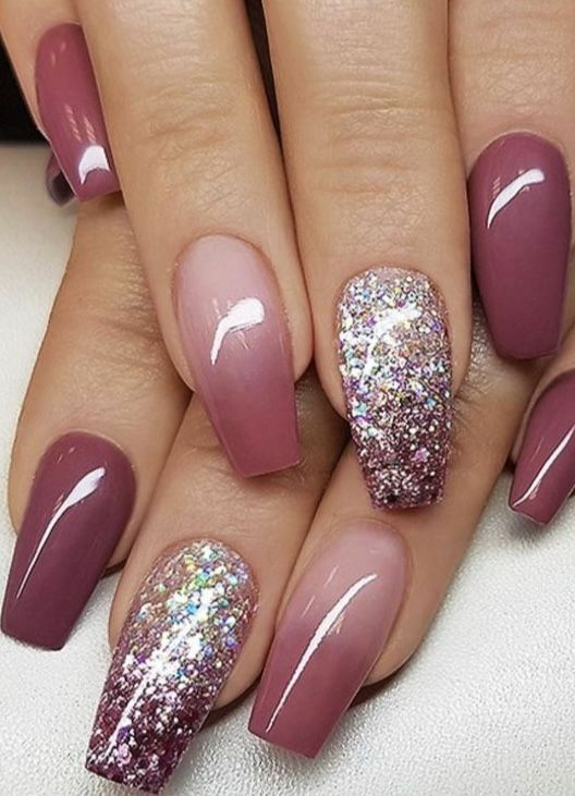 Naildesign Coffin Glitter In 2020 Ombre Nail Designs Ambre Nails Nail Designs Glitter