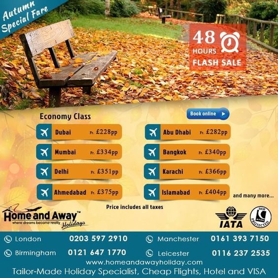 #autumn Special 48 Hours Flash Sale For Flights starting fr £228 pp with Taxes…