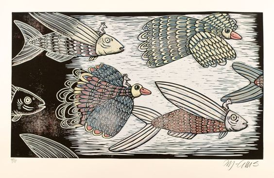 Feather and Fin, reduction linocut (2011) Linocut by Mariann Johansen-Ellis | Artfinder