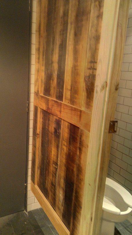 Reclaimed Wood Custom Made Into Bathroom Stall Door Cafe