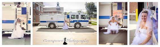 Bridal pictures with her firetruck in Dallas, NC.  www.CamparaPhotography.com