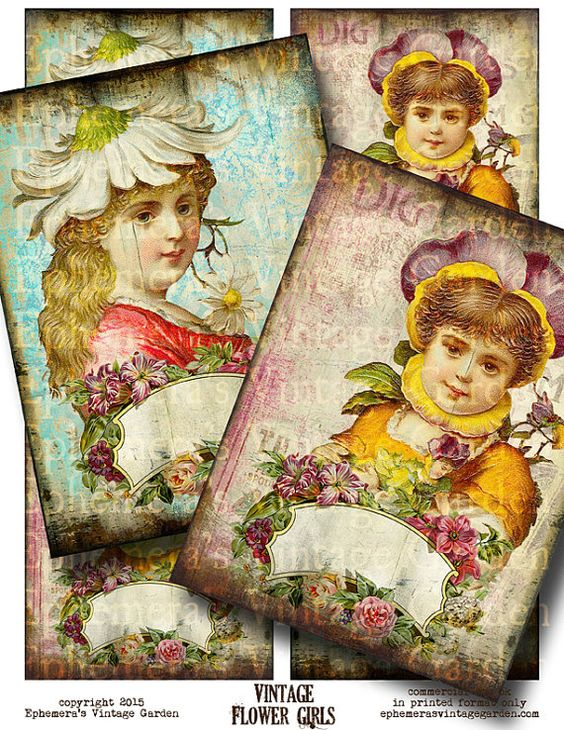 Vintage Flower Girls  Large Printable by EphemerasGarden on Etsy