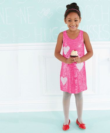 Another great find on #zulily! Pink Heart Sequin Shift Dress - Toddler & Girls #zulilyfinds