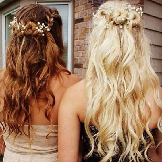 brown half up half down hairstyles, blonde half up half down wavy hairstyles long curls with a flower headband Join Our Instagram with @VP Fashion or #vpfashion.