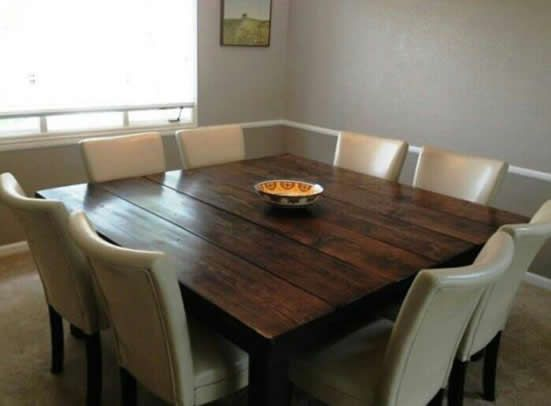 James james square farmhouse tables 66 square james james all wood farmhouse table in all - All wood dining room table ...