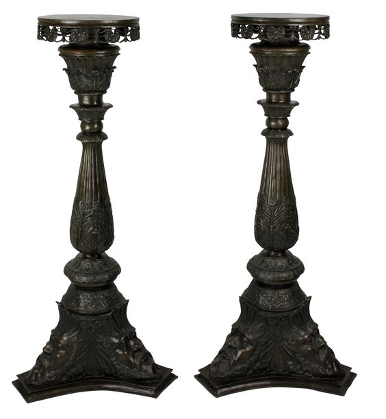 A rare and beautifully cast pair of Venetian bronze torchere, in the Classical manner. c.1880 Measures: 110cm high x 52cm diameter x 18cm diameter (tops)