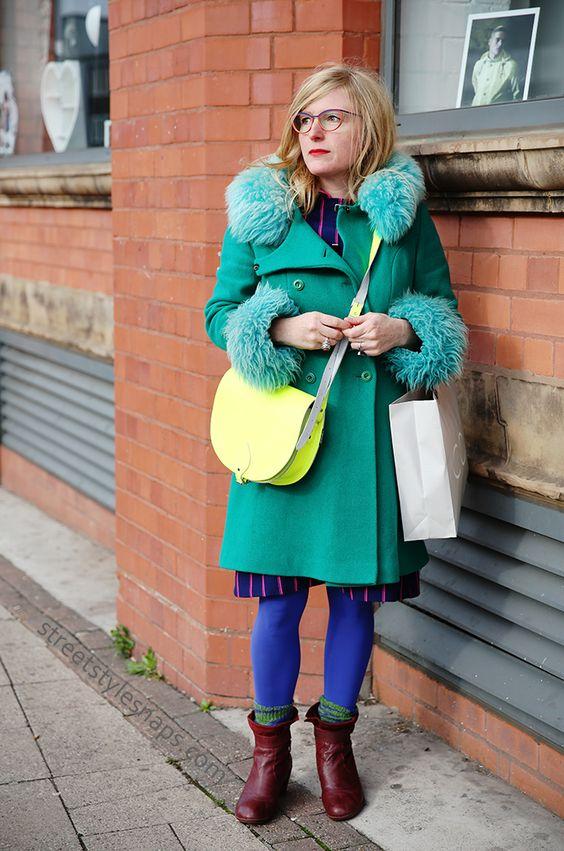 Zatchels Saddle Bag Neon Yellow Colourful Street Style Birmingham Vintage Coat Green