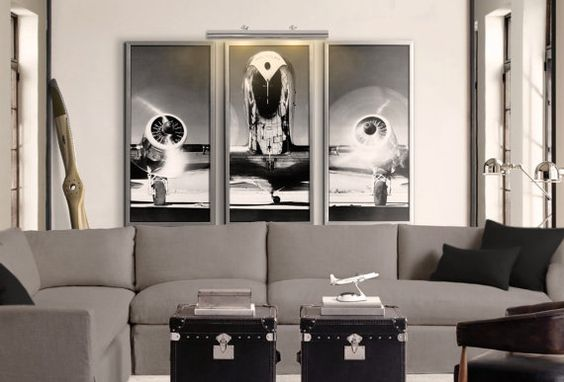 Airplane art print vintage airplane art airplane triptych 3 panel art print poster - Vintage airplane triptych ...