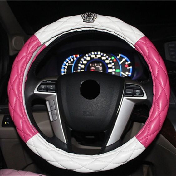 NewLove Universal Fits Most Car Styling Steering Wheel Non Slip Four Seasons Leather Car Steering Wheel Cover Queen Crown With Diamond Steering Wheel Cover -- Awesome products selected by Anna Churchill