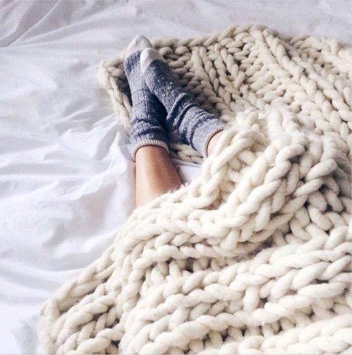 Blanket, check. Socks, check. Snuggle up, check.