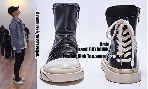 "Beyond The Style on Twitter: ""180606 [ JIMIN #JIMIN #BTS #지민 #방탄소년단 ] DBYDGNAK Leather High Top… """