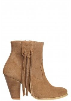 Marci Suede Fringe Bootie in Taupe at Calypso St. Barth in Market Street - The Woodlands