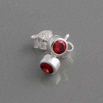 Ohrstecker Silber Zirkonia rot