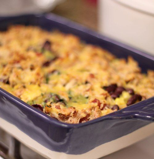 Layered Mexican Chicken Rice Casserole