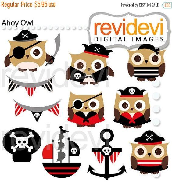Ahoy Owl Cliparts 07493.. Pirate hoot digital graphic clip ...