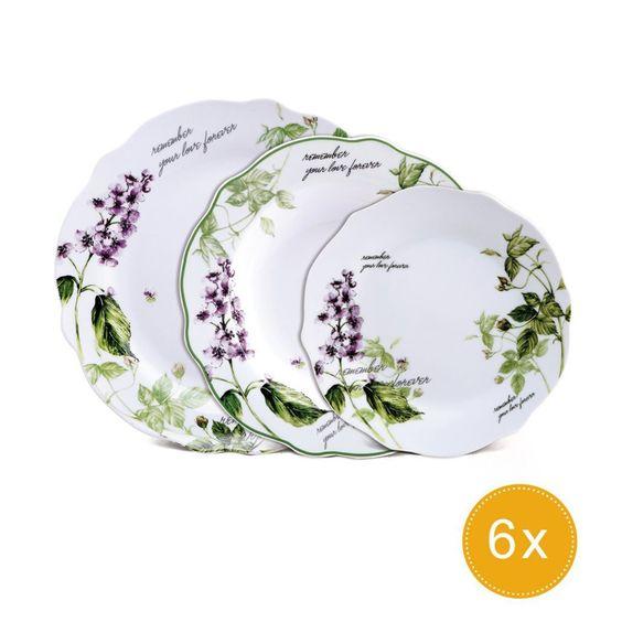 Brunchfield Remember - Vajilla de 18 piezas en porcelana: Amazon.es: Hogar