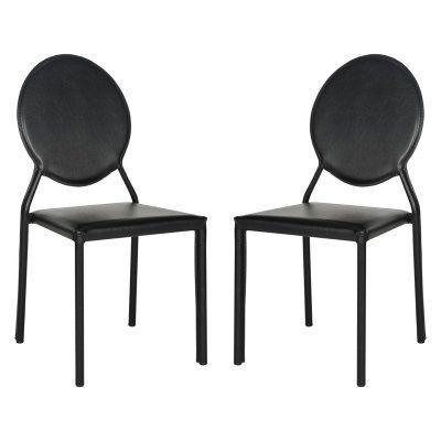 Safavieh Warner Round Back Leather Side Dining Chair - Set of 2 Black -