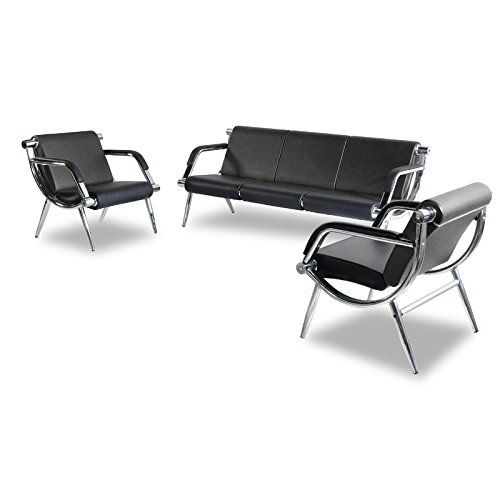 Borelax 3pcs Office Reception Chair Set Black Pu Leather Waiting Room Bench Visitor Guest Sofa Leather Sofa Set Office Reception Chair Reception Chair
