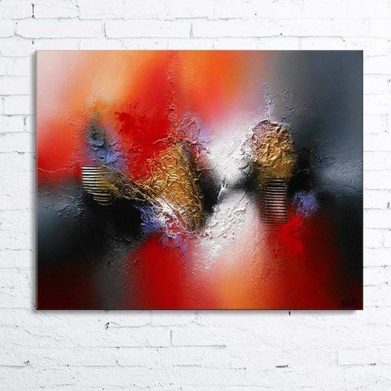 dsiban tableau abstrait moderne contemporain peinture acrylique en relief noir gris rouge orange dor blanc - Peinture Gris Rouge