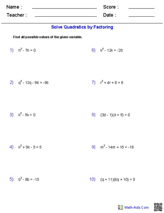 Worksheets Solving Equations By Factoring Worksheet solving quadratic equations by factoring math aids com factoring