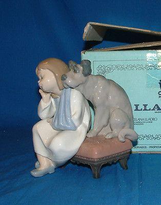 Lladro Figurine, 5706 We Can't Play, girl & dog - w/ box