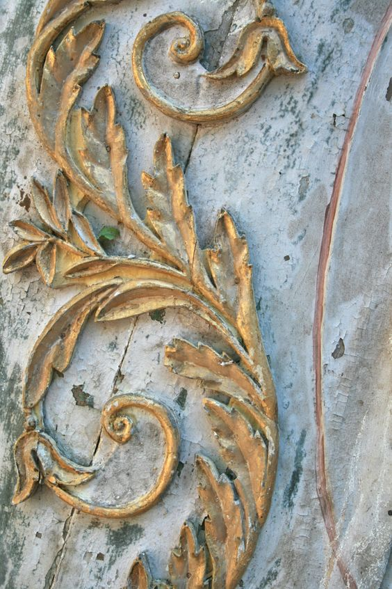 Detail of faded patina, gold leaf and special blue by Elise Valdorcia