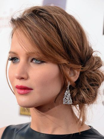 Excellent Side Buns Messy Side Buns And Jennifer Lawrence On Pinterest Short Hairstyles Gunalazisus