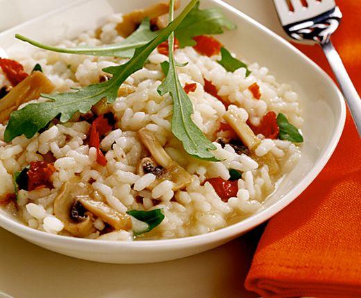 Champignons-Rucola-Risotto, einfach veganisieren.