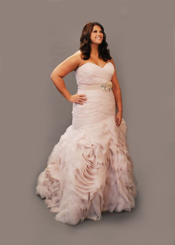 Pinterest the world s catalog of ideas for Plus size pink wedding dresses