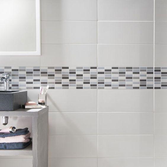 Carrelage mural en faïence, blanc, 25 x 40 cm salle de bain