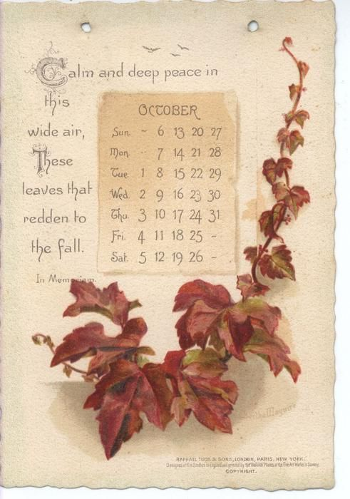 The Tennyson Calendar For 1895 Vintage Calendar Calendar