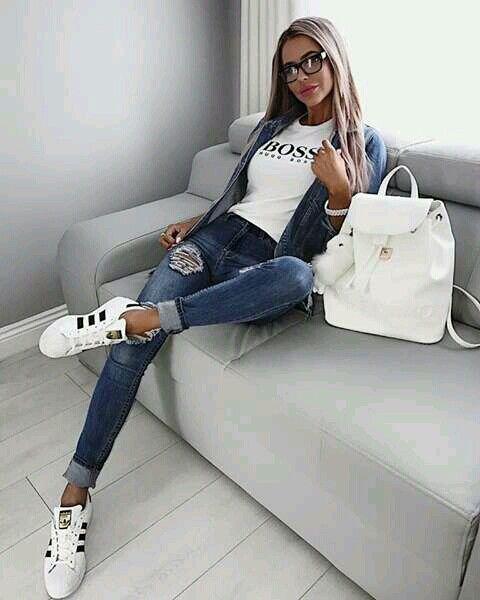 Hugo Boss Shirt Ripped Jeans And Adidas Pinterest Fashion